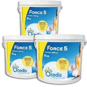 Chlore multifonction 5 actions - Force 5 250<br>OCEDIS ® pack 3 x 5kg