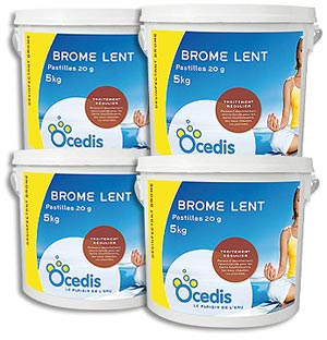 Brome lent piscine pack 4 x 5kg traitement eau piscine for Piscine brome cancer