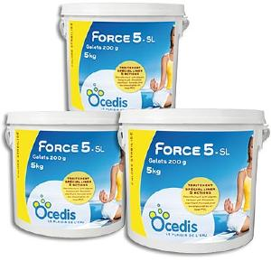 Chlore multifonction 5 actions - Force 5 Spécial Liner<br>OCEDIS ® pack 3 x 5kg